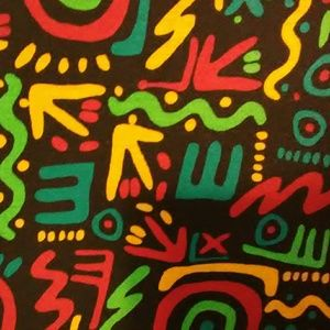 LuLaRoe Carly 2XL black background with multicolor